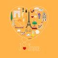 Heart shape illustration with I love France text Royalty Free Stock Photo