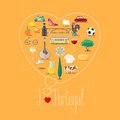 Heart shape illustration with I love Portugal sign Royalty Free Stock Photo
