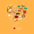 Heart shape illustration with I love Spain Royalty Free Stock Photo