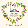 Heart shape leaf frame and love birds. Royalty Free Stock Photo