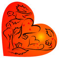 Heart shape and love birds