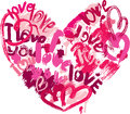 Heart shape is made of brush strokes and scribbles words love i love you element for valentines day or wedding design Royalty Free Stock Photography