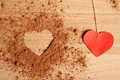 Heart shape made ??of cocoa Royalty Free Stock Image