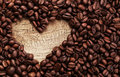 Heart shape made from coffee beans on wooden surface wood Stock Image