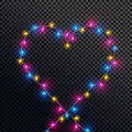 Heart shape made by colorful lights.