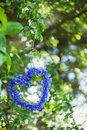 Heart shape made of cornflowers with natural boke through summer foliage green background Stock Photography