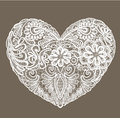 Heart shape is made of lace doily, element for Val Royalty Free Stock Photo