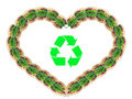 Heart shape made from leaves with recycle symbol Stock Photography