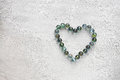 Heart shape made from marbles valentines day concept or wedding concept room for text Royalty Free Stock Photos