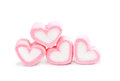 Heart shape marshmallow with on background, Pink heart shape mar Royalty Free Stock Photo