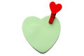 Heart shape memo with wooden heart shape clip Stock Images