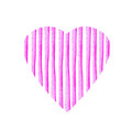 Heart shape of pink stripe painted in watercolor. Retro style background. Element design for posters, stickers, banners, invitatio