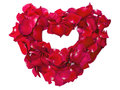 Heart shape of red rose petals isolated on white Stock Photography
