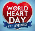 Heart Shape with Reminder Date Ribbon for World Heart Day, Vector Illustration Royalty Free Stock Photo