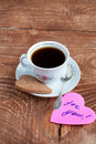 Heart shape Saint Valentine's Cookie with cup of coffee Stock Photo