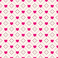 Heart shape seamless pattern. Pink and white
