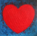 Heart Shape Symbol, Bright Red...