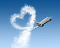 Heart shape track from large plane Royalty Free Stock Photo
