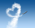 Heart shape track from plane on blue Royalty Free Stock Photo