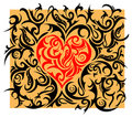 Heart-shape with tribal ornament Royalty Free Stock Image