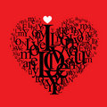 Heart shape typography composition Royalty Free Stock Photo