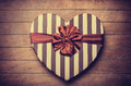 Heart shape valentine box handmade on wooden background Stock Photos