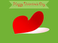 Heart shape valentine greeting card on a green background Stock Image