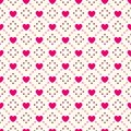 Heart shape vector seamless pattern. Pink and