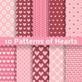 Heart shape vector seamless patterns tiling pink color endless texture can be used for printing onto fabric and paper or scrap Royalty Free Stock Image