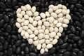 Heart shape from white haricot beans on black haricot beans back Royalty Free Stock Photo