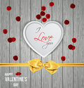 Heart shape on wooden texture happy valentine s day vector Stock Image