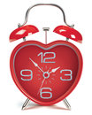 Heart shaped alarm clock vector illustration on white Royalty Free Stock Images