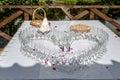 Heart-shaped arranged champagne glasse