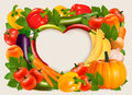 Heart shaped background made of vegetables and fruit. Royalty Free Stock Photo