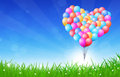 Heart shaped balloons flying colorful celebration backround with in the air Stock Image