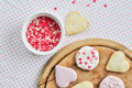 Heart-shaped biscuits Royalty Free Stock Images