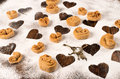 Heart shaped biscuits Royalty Free Stock Images