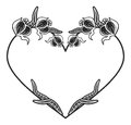 Heart-shaped black and white frame with floral silhouettes.
