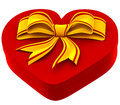 Heart shaped box with golden bow for gift on white background Stock Photo