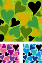 Heart shaped Camouflage pattern set Royalty Free Stock Images