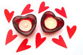 Heart shaped candles on a white background Stock Photography