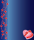 Heart shaped chocolate box on blue background Stock Photos
