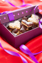 Heart shaped chokolate cookies  in small box Stock Photography