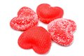 Heart shaped closeup red candies Royalty Free Stock Photography