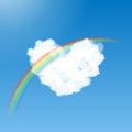 Heart shaped cloud and rainbow in the blue sky with Stock Image