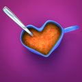Heart shaped coffee cup d rendering of with spoon Royalty Free Stock Photos
