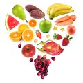 Heart shaped collection of fresh fruits isolated on white Royalty Free Stock Photos