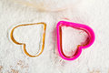 Heart shaped cookie cutter on flour Royalty Free Stock Photo
