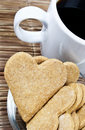 Heart shaped cookies and coffee Royalty Free Stock Photo