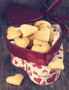 Heart shaped cookies in gift box toned image Stock Image